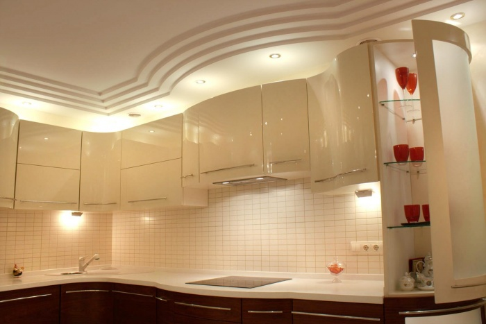 Потолки из гипсокартона своими руками в кухне