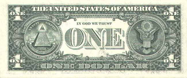 Внешний вид 1 (одного) доллара США с портретом Джорджа Вашингтона