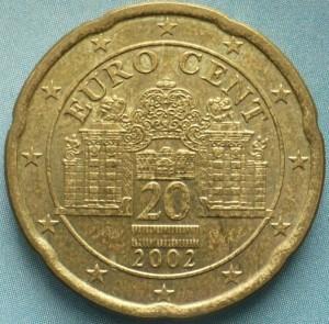 Внешний вид 20 (двадцати) центов Евро Австрии