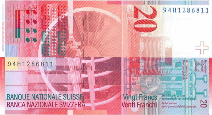 Внешний вид 20 (двадцати) Швейцарских франков (реверс) e6eaf410482