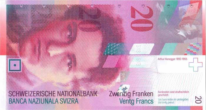 Внешний вид 20 (двадцати) Швейцарских франков с изображением портрета  композитора Артюра Онеггера (аверс 4eb275c1447