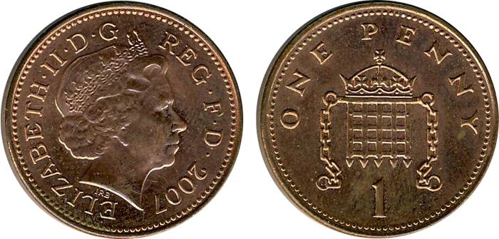 Внешний вид 1 (одного) пенса фунта стерлингов