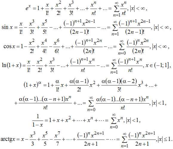 решебник по разложению функции в степеной ряд тей