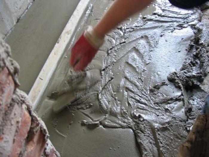 Цементно-песчаный раствор.
