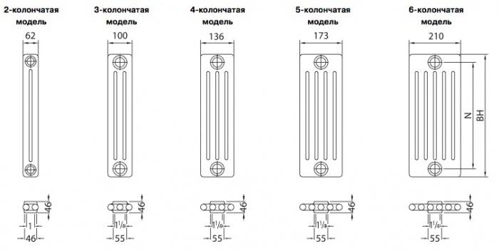 секции радиаторов отопления расчет